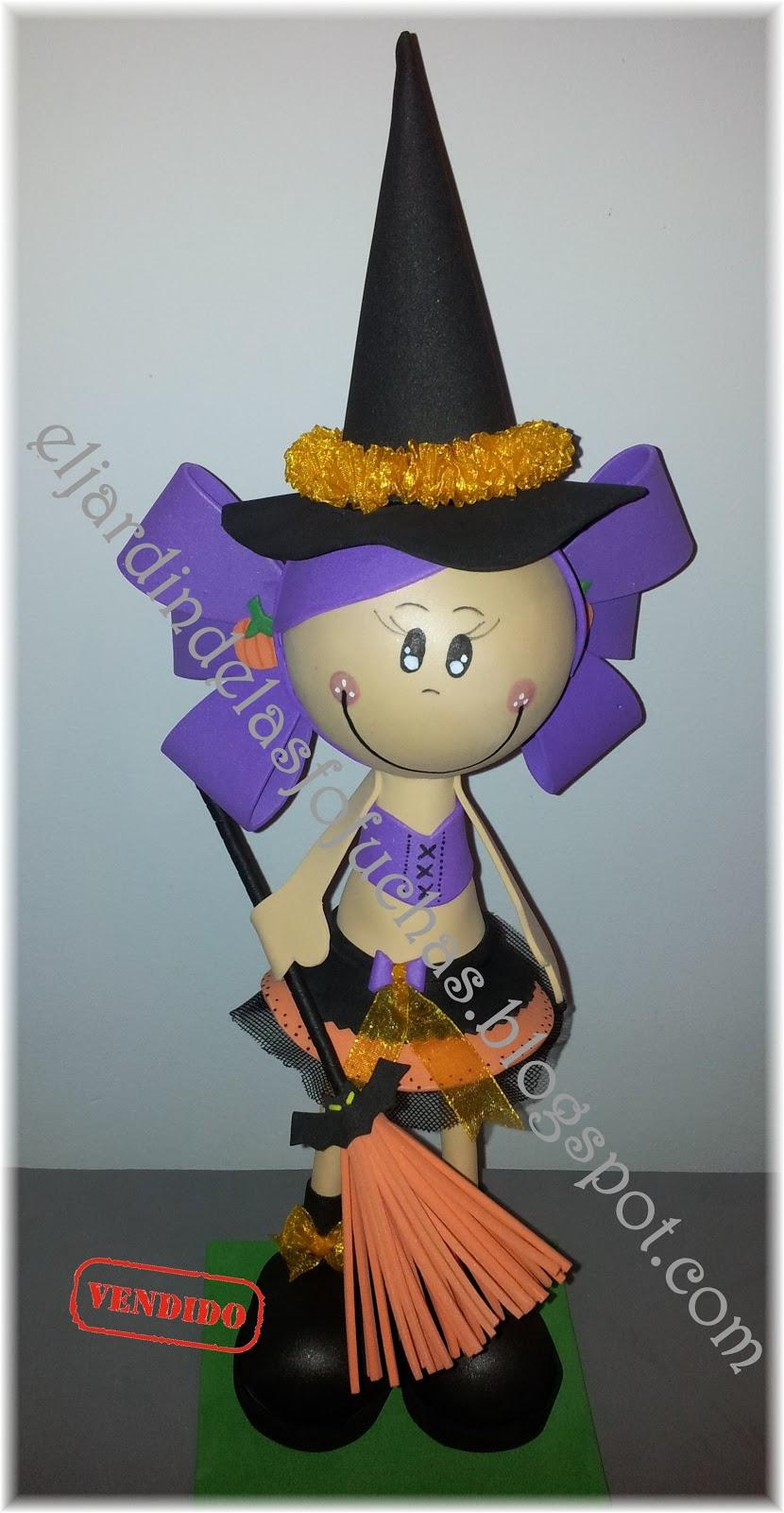 Bruja Fofucha Para Halloween Manualidades.html