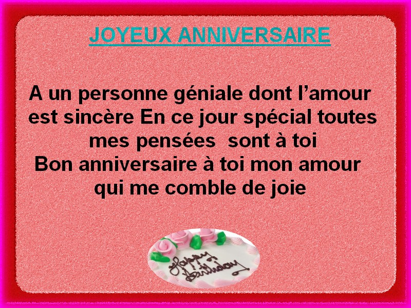 Fabuleux SMS d'amour 2018 - SMS d'amour message: carte joyeux anniversaire IF09