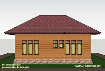 Desain Rumah Mungil Minimalis - Tampak Samping Kiri