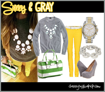 Sunny and Gray Yellow Jeans Gray Sweater Kate Spade Purse