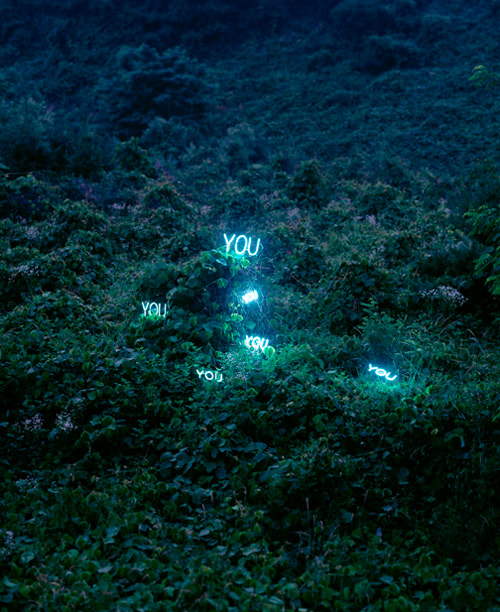 Glowing Text Installations by Lee Jung