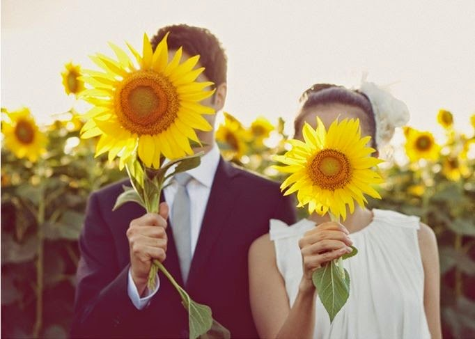 whimsical sunflower wedding photo