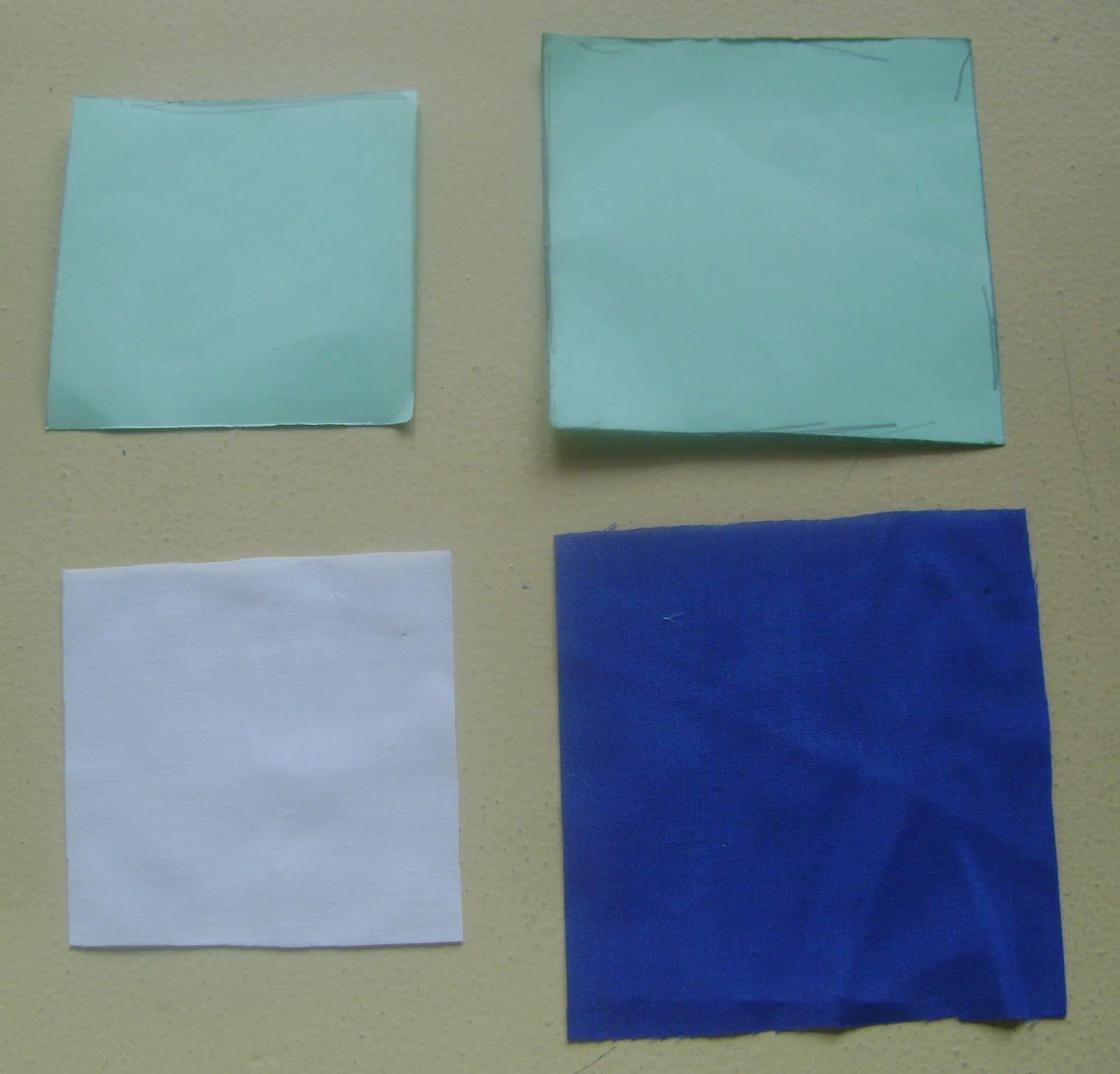 con un cuadrado de base de 8X8 cm ( este puede ser en cualquier tela