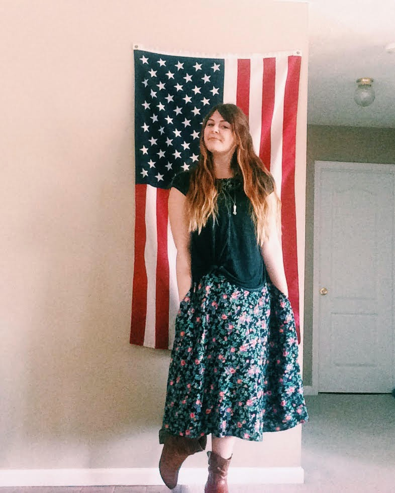 floral dress, boots, american flag