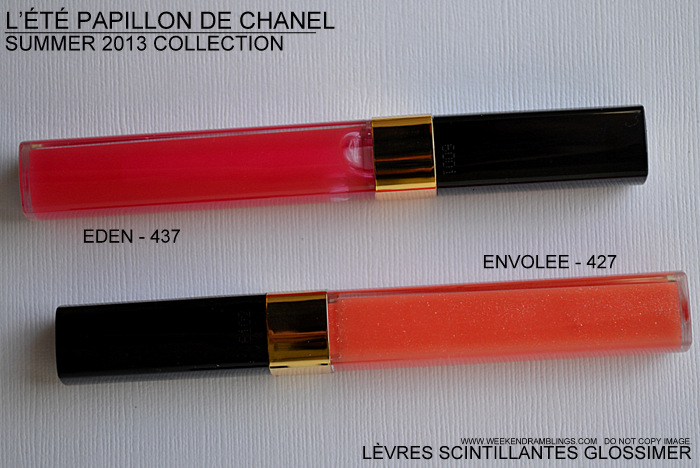 Chanel Summer 2013 Makeup Collection LEte Papillon de Chanel Levres Scintillantes Glossimer Lipgloss Eden  437 Envoulee 427 Photos Indian Darker Skin Swatches Makeup Beauty Blog