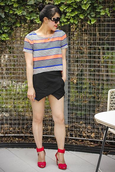 Joa striped top with Zara skort