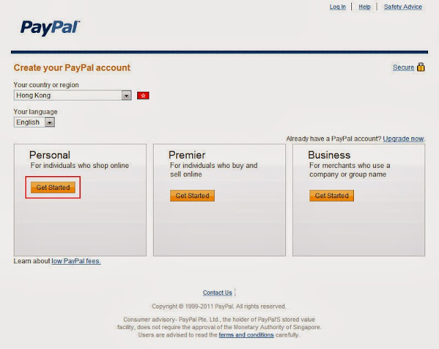 paypal register account