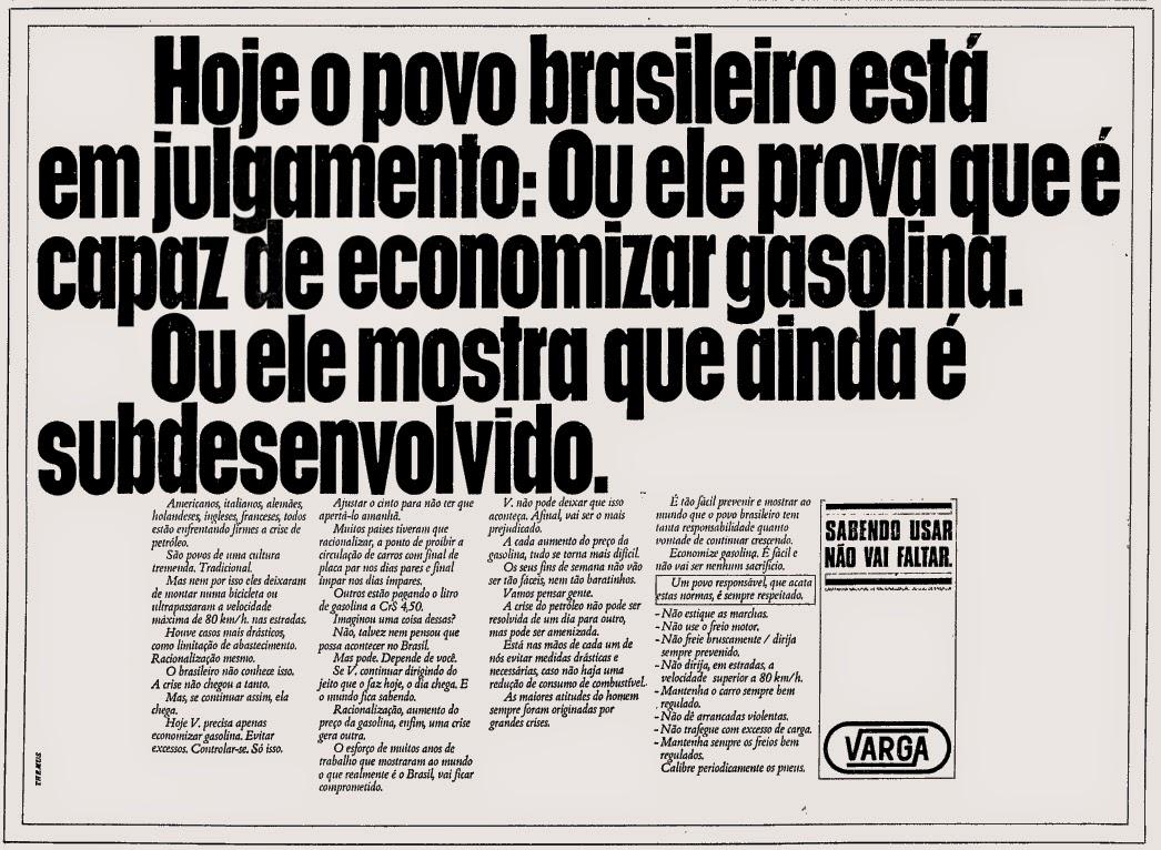 crise do petróleo nos anos 70. anos 70. história da década de 70. propaganda anos 70.