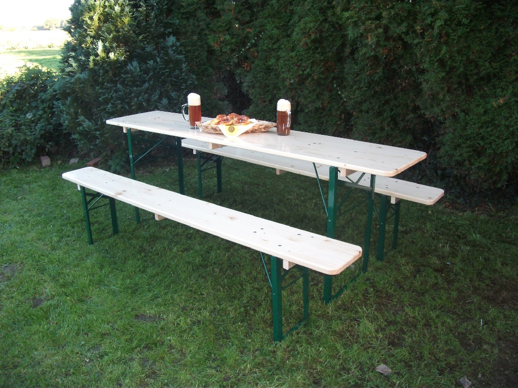 Pottery Barn Tavern Folding Dining Table and Bench Set  Fashioned after the table  sets found in the beer gardens of Germany. Category Archive for  Outdoor    Decor Look Alikes