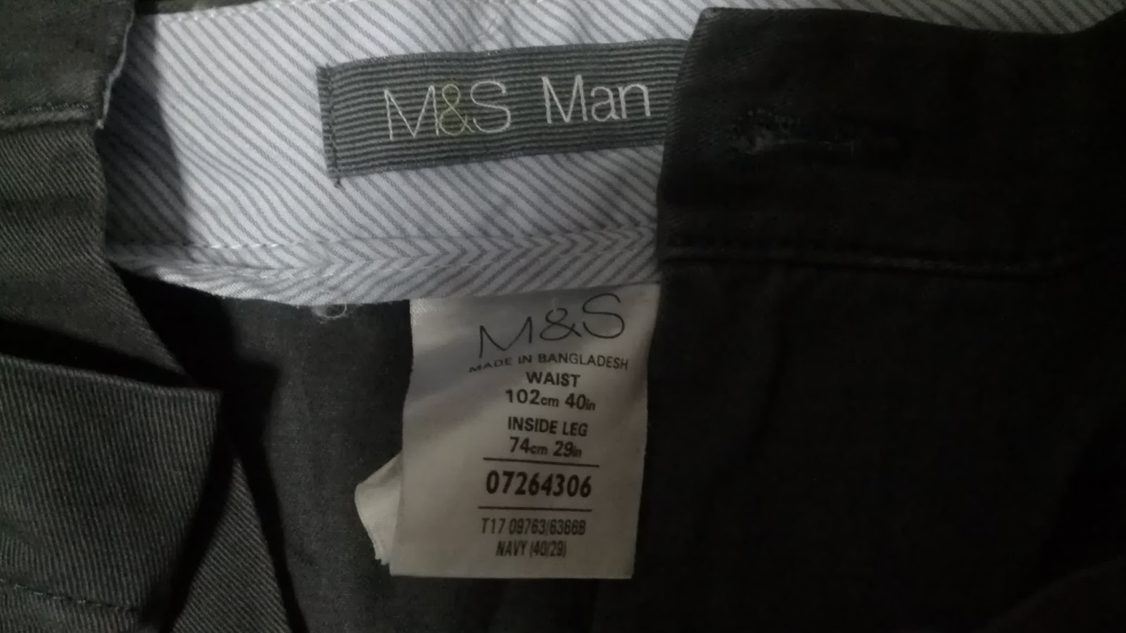 Jeans By Example Mark And Spencer W40 L29 Black Chinos Pants