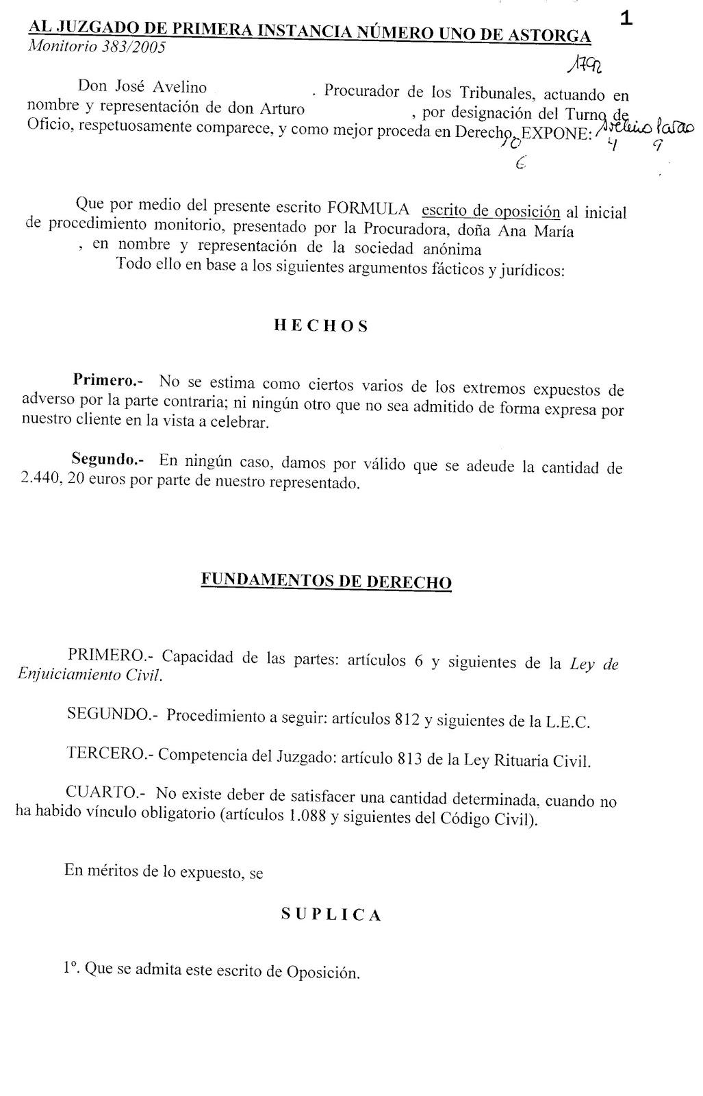 AULA JUDICIAL: Escrito de Oposición al Proceso Monitorio