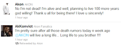 Akon Debunks Death Rumour. 2