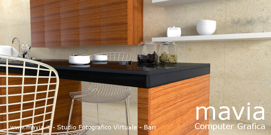 arredamento di interni: rendering interni 3d, particolare di una ... - Cucine Moderne Bari