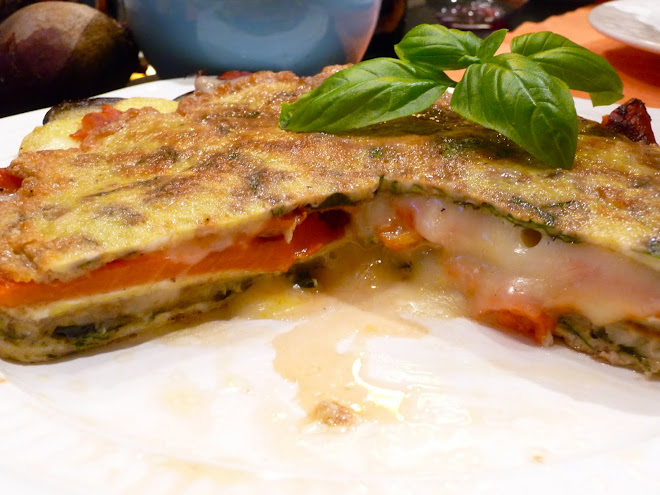 "Frittata ""Torte"" with Roasted Red Peppers, Roasted Eggplant and Fontina Cheese"