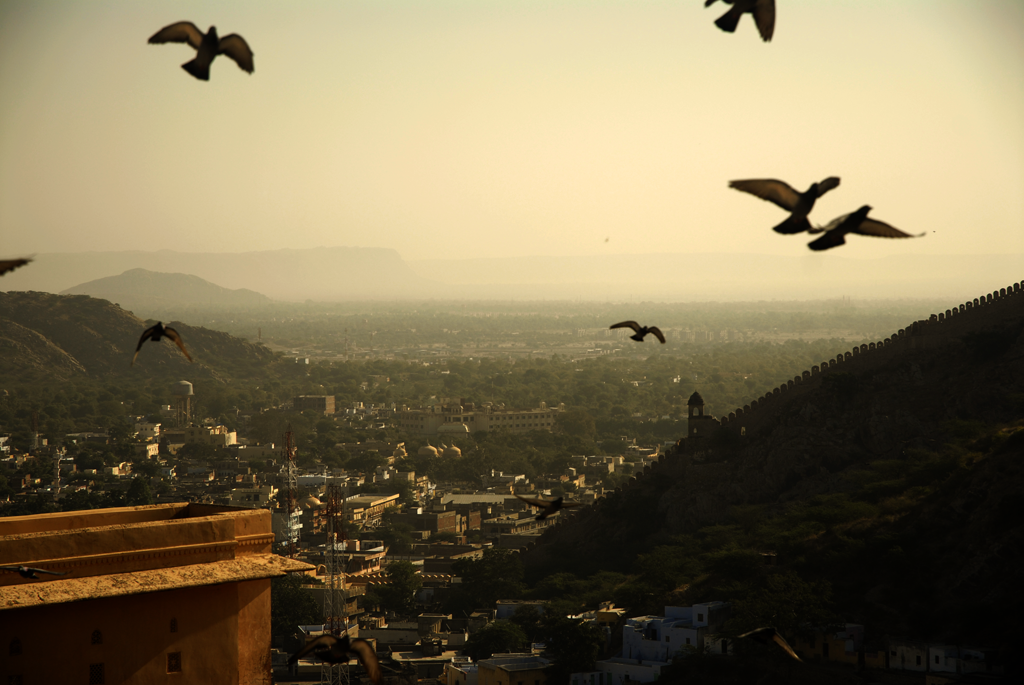 View from the Amber Fort in Jaipur in Rajasthan