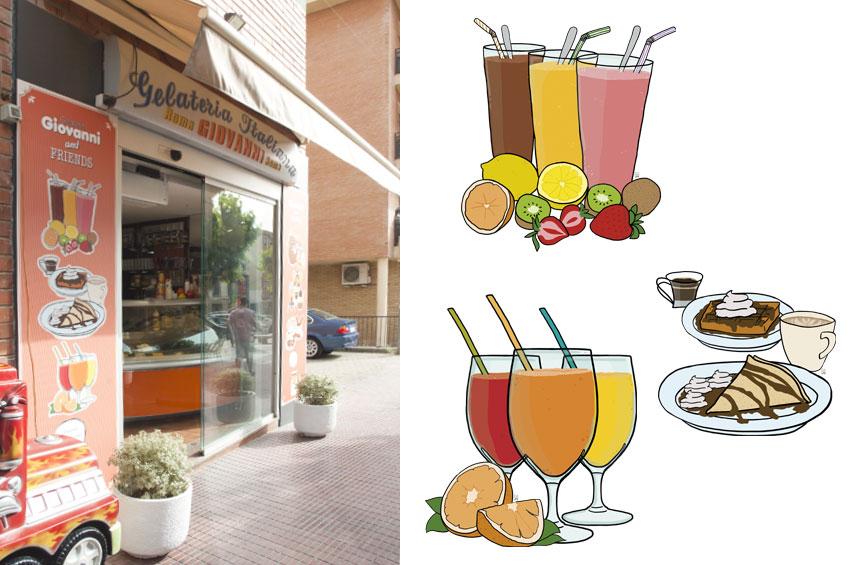 Aplicació de les il·lustracions sobre la façana de la gelateria Giovanni d'Esparreguera. Encàrrec que em va fer l'estudi EspaiBlanc ©Imma Mestre Cunillera