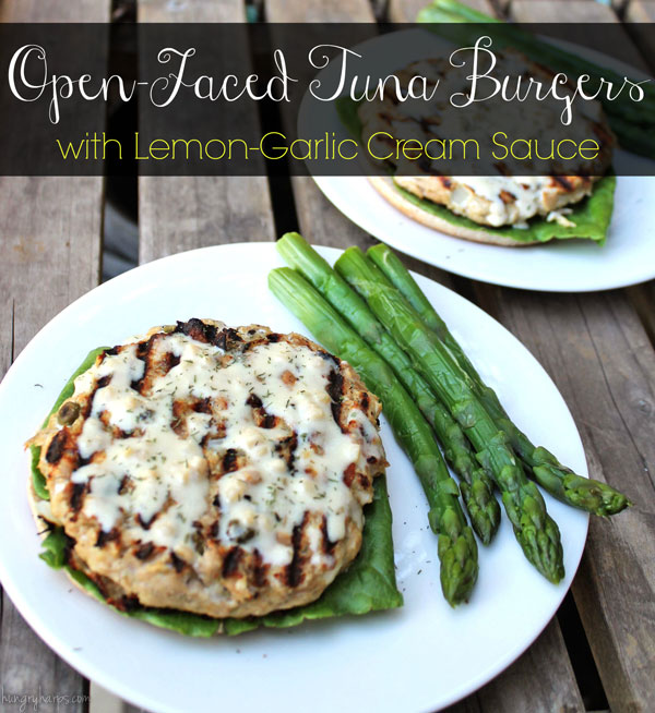 Open-Faced Tuna Burgers with Lemon-Garlic Cream Sauce #OceanNaturals #shop #cbias