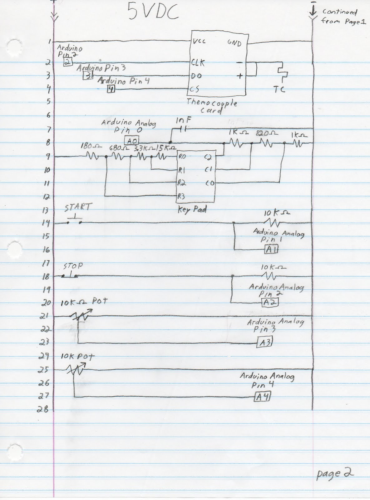 Page 1 shows the 120 volt ac circuits well as the outputs from the Arduino  controller. Page two are the inputs to the Arduino. I'll go through this  rung by ...