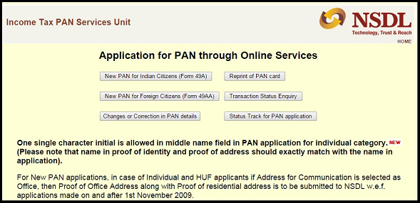 online pan card application