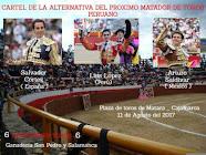 Luis López, tomara la alternativa en la feria de Matara, Perú, el 11/08.