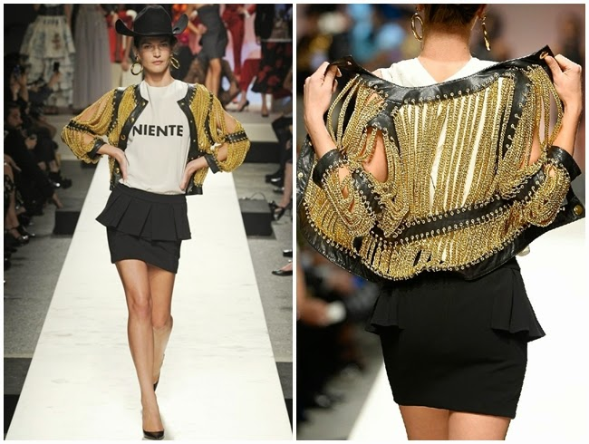 Moschino 2014 SS Black Leather Jacket with Golden Chains