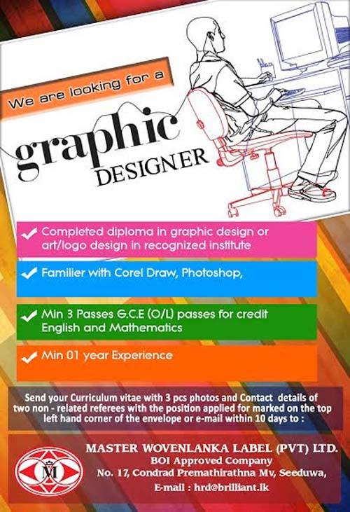 Vacancy for a graphic designer at master wovenlanka label for Grafik design jobs