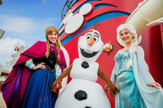Anna, Olaf and Elsa welcome you aboard.