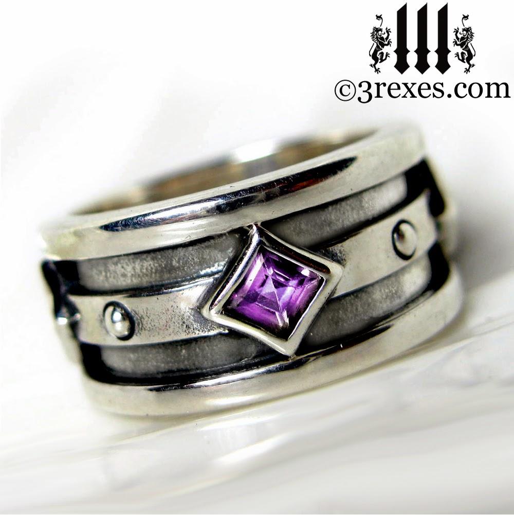 mens silver gothic wedding ring purple amethyst
