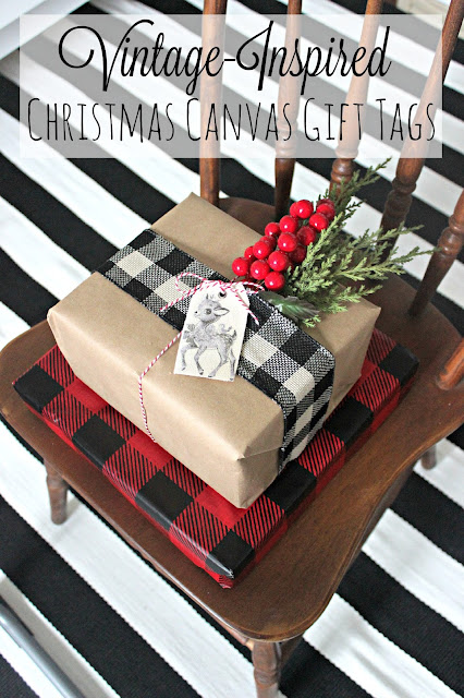 Make your own DIY Christmas vintage-inspired canvas gift tags for an extra special creative touch!