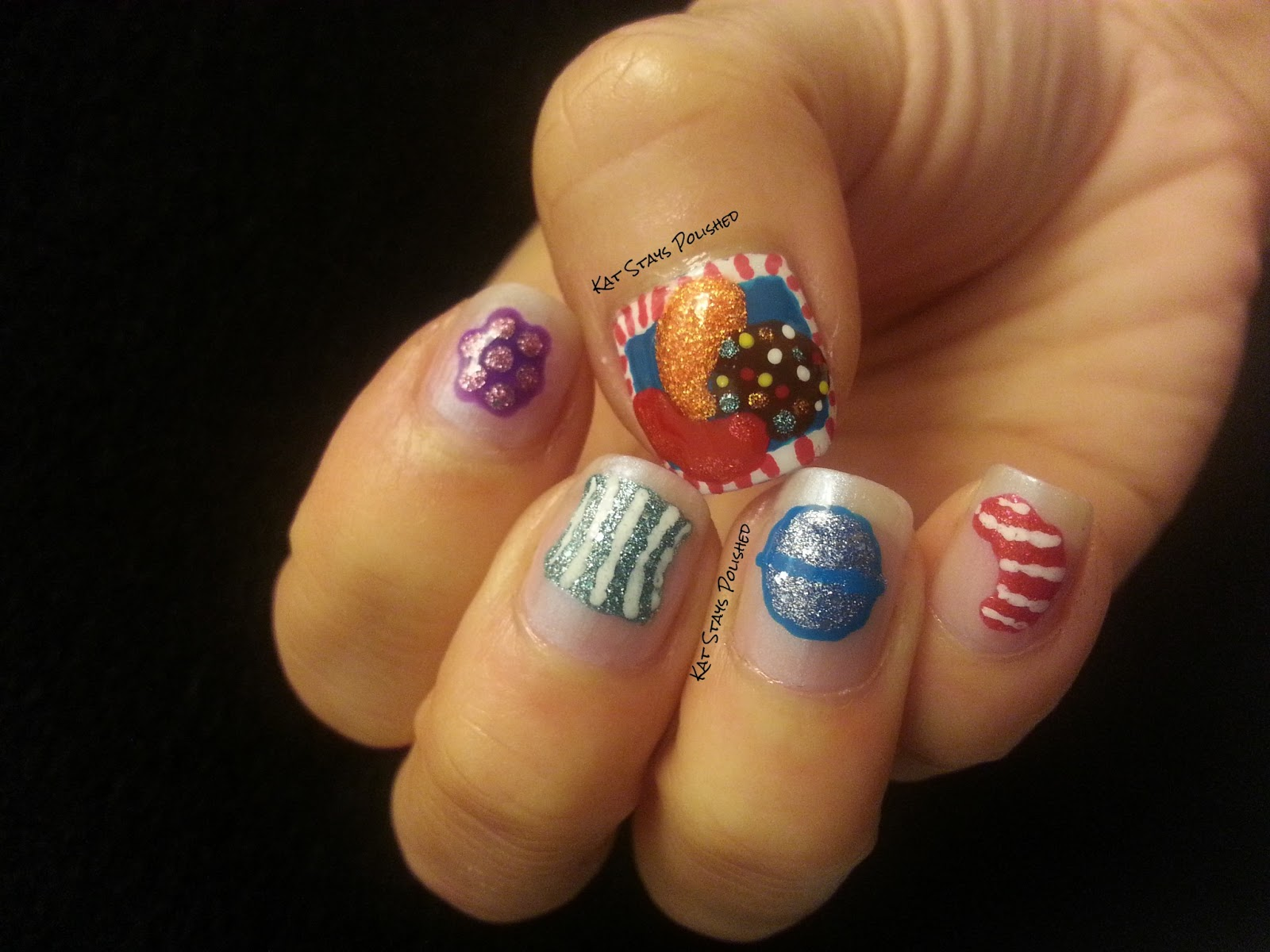 candy crush saga nails using frosted gum drops candy crush saga nails