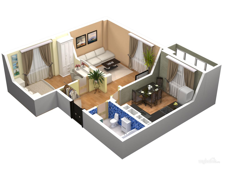 Дизайн проект 1 ком квартиры