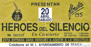 entrada de concierto de heroes del silencio
