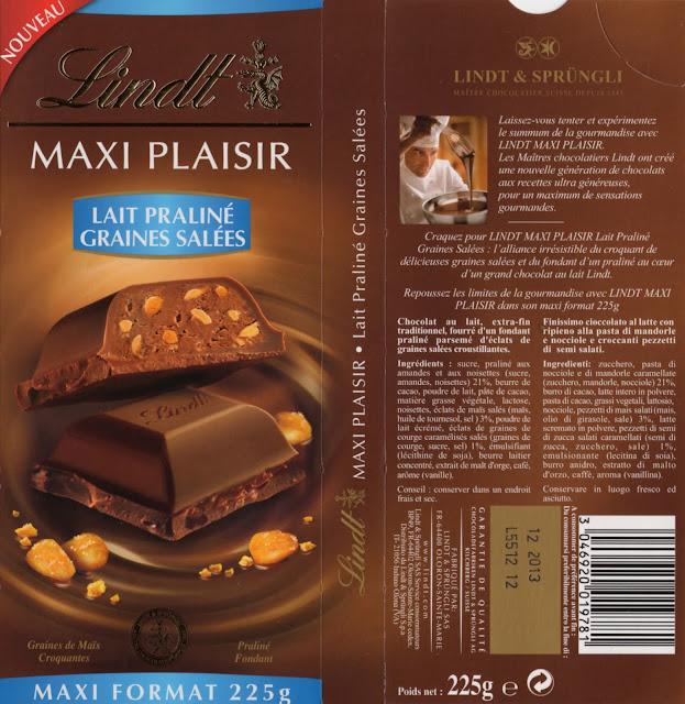 tablette de chocolat lait gourmand lindt maxi plaisir lait praliné graines salées