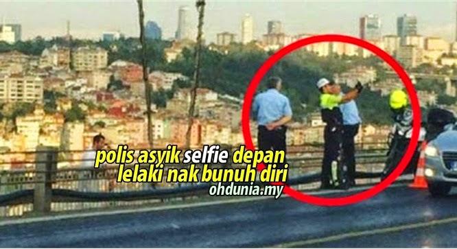 Polis Dikecam Asyik Selfie Depan Seorang Lelaki Yang Nak Bunuh Diri