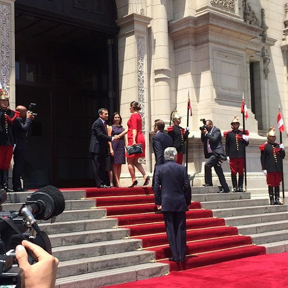 Crown Princess Victoria of Sweden met with President Ollanta Humala of Peru at Government Palace in Lima, Peru