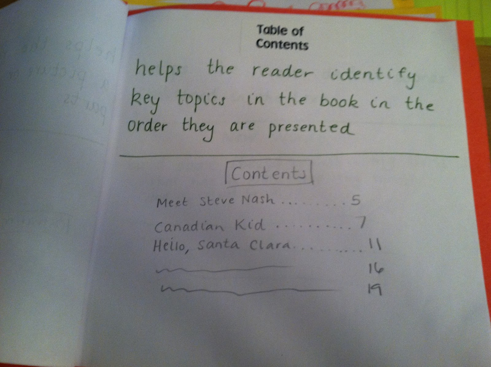 Team j s second grade fun day 7 nonfiction text features table