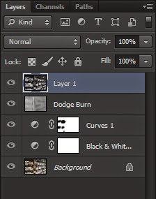 Photoshop, adjustment layer, black and white, curves, dodge and burn