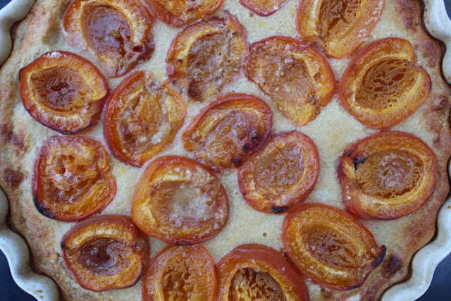 Fresh out of the oven - the finished apricot tart