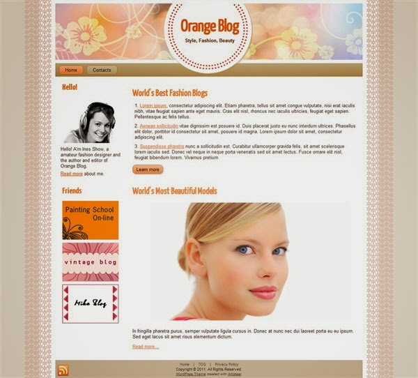 Orange Fashion - Free Wordpress Theme