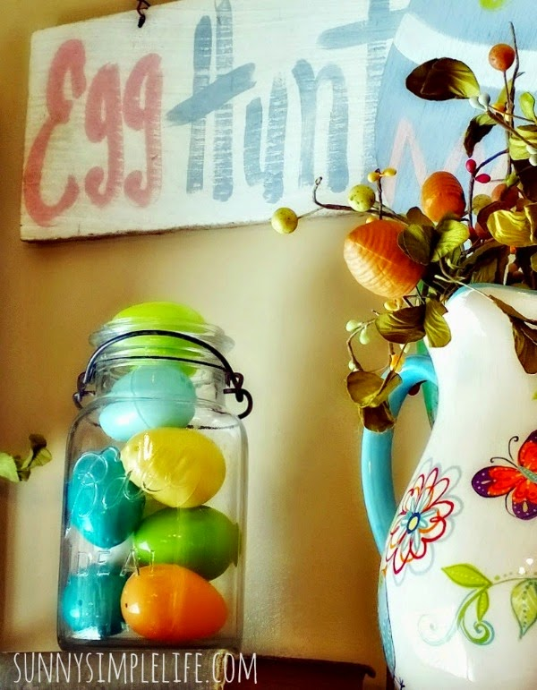 farmhouse Easter decor, Easter eggs in a ball jar