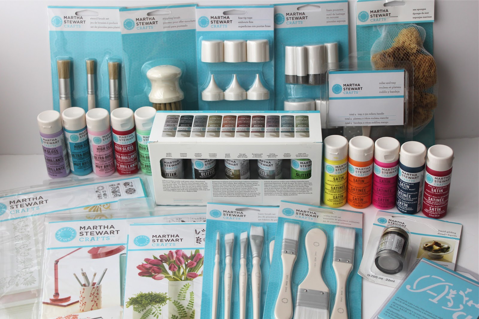 earlier this month joanns stores inc and plaid enterprises inc sent me a whole bunch of goodies from martha stewarts new line of craft and paint