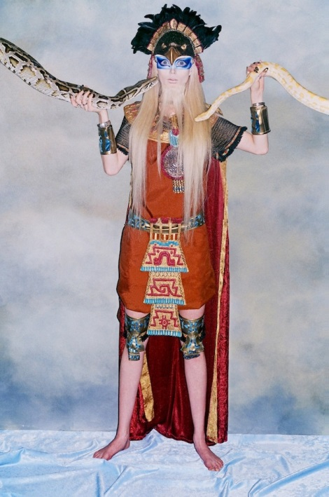 Valeria Lukyanova dressed as a deity with snakes for VICE