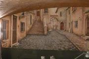 Malarstwo ścienne w biurze, obraz namalowany bezpośrednio na ścianie.