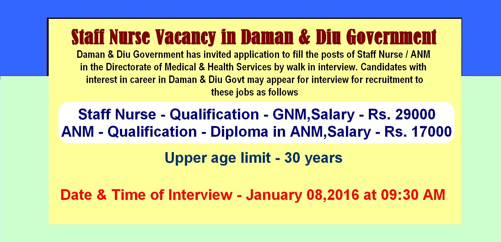 nurses job vacancy anm staff nurse vacancy in daman diu daman diu government has invited application to fill the posts of staff nurse anm in the directorate of medical health services by walk in interview