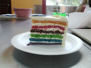 Swiss Lemon Meringue Buttercream, rainbow cake