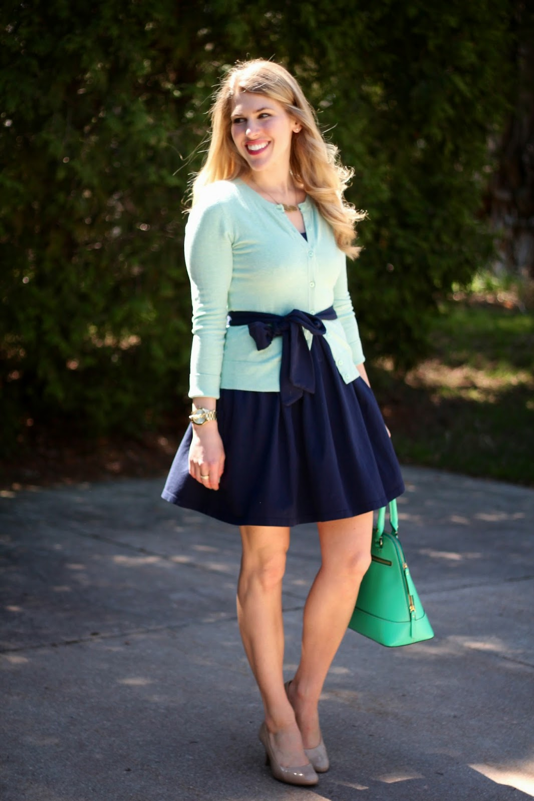 I do deClaire: Navy Dress and Mint Cardigan