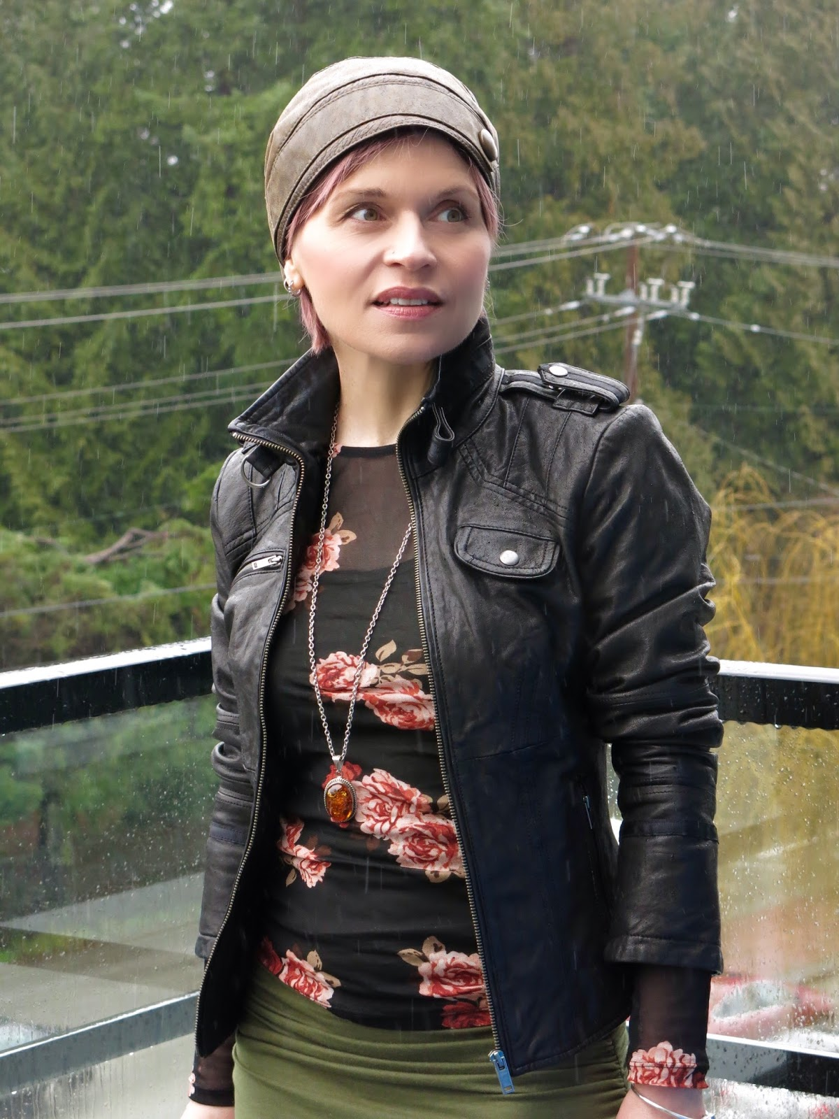 sheer floral top, moto jacket, leather beanie
