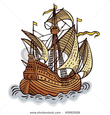 Desenho de navio colorido