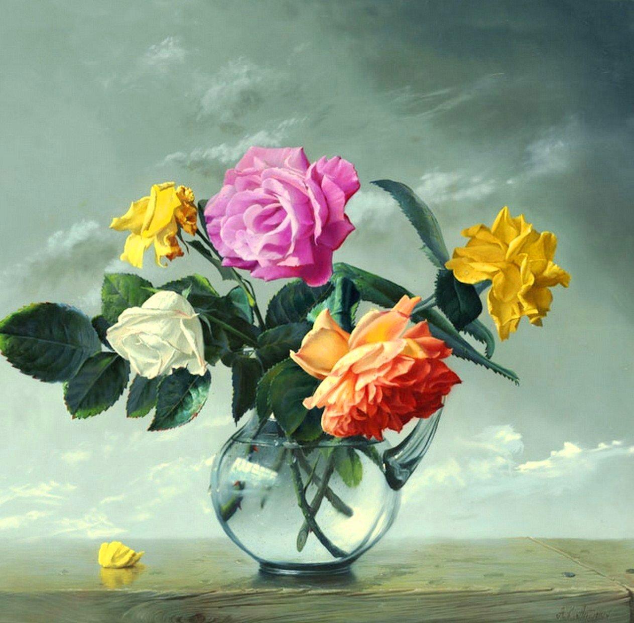 Pinturas cuadros lienzos cuadros pinturas de flores al leo - Cuadros de pintura ...