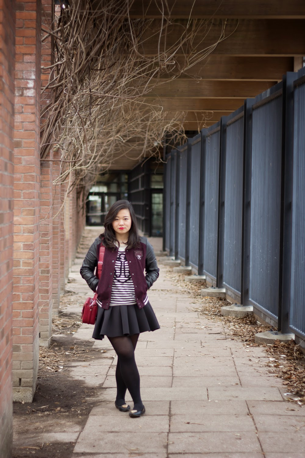 Burgundy-baseball-varsity-jacket, puffy-skater-skirt, Spring-Casual-Look